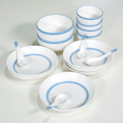 (代发)康宁瓷-新骨瓷餐具16件组(碗*4、面碗*2、深盘*6、小汤勺*4)