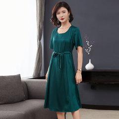 (代发)今升-纯色立体浮雕真丝连衣裙 无 绿色:L