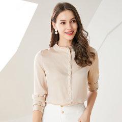 (代发)今升-纯色立领重磅真丝长袖衬衫 香槟色:XL 无