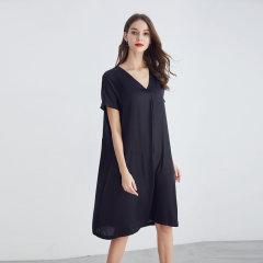 (代发)今升-纯色V领重磅真丝连衣裙 无 复古绿:XXL