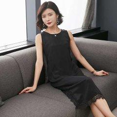 (代发)今升-双绉蕾丝花边真丝连衣裙 无 黑色:XL