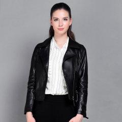 (代发)今升-西装领修身绵羊皮机车皮夹克 3XL 黑色