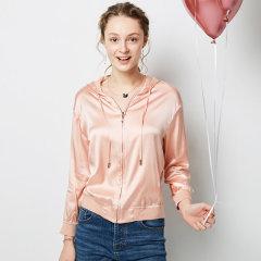 (代发)今升-纯色真丝连帽夹克长袖外套 XL 粉色
