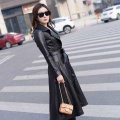 (代发)今升-西装领单排扣绵羊皮皮风衣 3XL 黑色