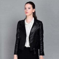 (代发)今升-立领百搭绵羊皮机车皮夹克 XL 黑色