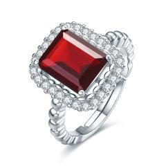 (代发)S925银镶石榴石酒红色方形蛋面戒指/女戒