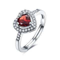 (代发)S925银镶石榴石酒红色心形蛋面戒指/女戒