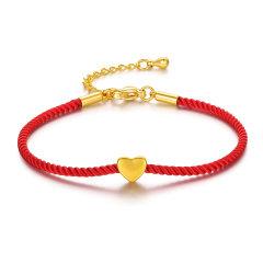 (代发)足金饰品心形3D硬金手绳