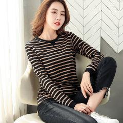 (代发)条纹圆领棉女式t恤长袖上衣HBF1356 无 黑色条纹:M
