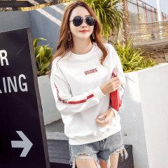 (代发)印花宽松韩版套头款女士卫衣HBF1343 无 白色加绒:XL