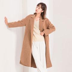 (代发)今升-简约系带双面羊毛呢大衣长款 无 米灰:L