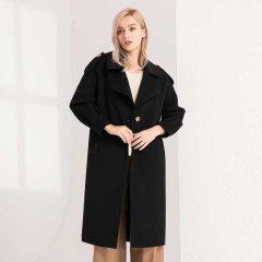 (代发)今升-大翻领灯笼袖双面羊毛大衣长款 无 米灰:XL