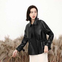 (代发)今升-小方领收腰显瘦绵羊皮真皮外套 无 7091黑色:XL