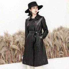 (代发)今升-小方领单排扣系带绵羊皮真皮皮风衣 无 黑色:XL