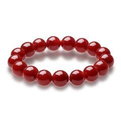 (代发)天然玛瑙朱红圆珠手串手链女手链