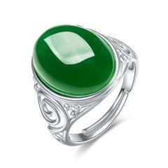 (代发)S925银镶和田玉菠菜绿碧玉戒指女戒