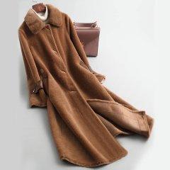 (代发)今升水貂领宽松颗粒羊毛大衣 无 深咖色:L