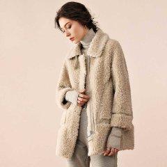 (代发)今升简约宽松颗粒羊毛大衣中长款 橙色:M 无