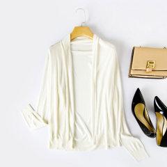 (代发)今升纯色宽松长袖真丝披开衫XJM151Y 无 杏色:XL