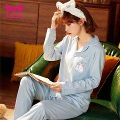 (代发)猫人全棉简约翻领家居服套装女款 无 抽象猫咪灰绿:XL