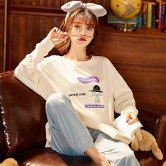(代发)猫人全棉圆领家居服套装女款 无 米色+灰绿:XL