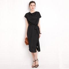 (代发)今升-纯色落肩袖重磅真丝连衣裙 无 红色:XL