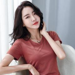 (代发)夏季新款纯棉V领短袖t恤女HBF2184 砖红:XL 无