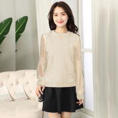 (代发)冰丝针织衫女韩版拼接宽松圆领打底衫HBF2180 黑色 无