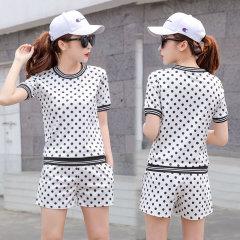 (代发)韩版波点休闲运动服套装女HBF2191 无 白色:XL