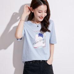 (代发)韩版短袖t恤新款圆领女T恤上衣HBF2226 花季粉:XL 无