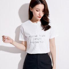 (代发)韩版宽松立体印花T恤女新款棉上衣HBF2225 珊瑚橘:XL 无