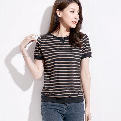 (代发)韩版条纹女装胖妹妹半袖上衣棉THBF2223 黑白条纹:XXXL 无