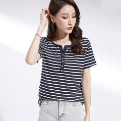 (代发)韩版V领短袖t恤女条纹显瘦上衣HBF2221 咖啡条纹:XL 无