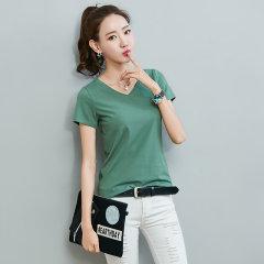 (代发)韩版V领显瘦弹力纯色打底衫上衣HB8301 黑色:L 无