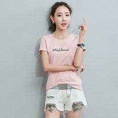 (代发)韩版短袖t恤女字母印花圆领打底衫T恤HB8300 白色:XXXL 无