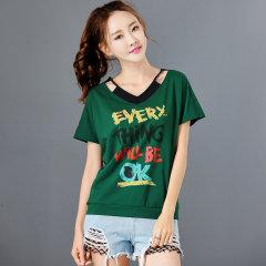 (代发)短袖t恤女宽松V领打底衫假两件T恤HB8299 中国红:M 无