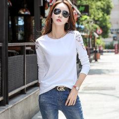 (代发)新款女装长袖T恤女上衣刺绣显瘦打底衫HB8298 黑色:XXL 无