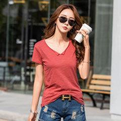 (代发)简约新款韩版纯棉短袖T恤女打底衫HB8291 深灰:M 无