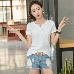(代发)新款绣花T恤女文艺范女装休闲t恤HB8217 薄荷绿:XXL 无