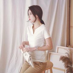 (代发)新款小V领条纹棉短袖t恤女士打底衫HB8022 白色:M 无