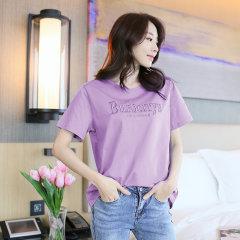 (代发)纯棉刺绣简约字母百搭宽松女式T恤短袖HB8021 白色:S 无