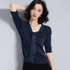 (代发)优雅V领亮丝短袖针织衫女套头上衣HB8014 浅蓝色:L 无