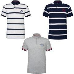 (代发)美国U.S.POLO ASSN美式奢华商务立领T恤(蓝白条、白蓝条、灰色立领) 无 XL