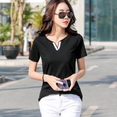 (代发)百搭短袖女打底衫修身显瘦V领T恤HBF1759 典雅白:L 无