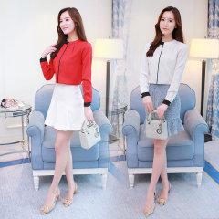 (代发)韩版女装修身显瘦立领打底衬衣HBF2104 白色:L 无