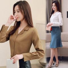 (代发)韩版新款长袖衬衫宽松上衣女衬衣HBF2103 白色:L 无