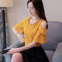 (代发)新款潮蕾丝露肩上衣服超仙甜美洋气HBF2116 黄色:XL 无
