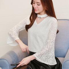 (代发)韩版时尚上衣蕾丝喇叭袖洋气打底衫HBF2115 白色:L 无