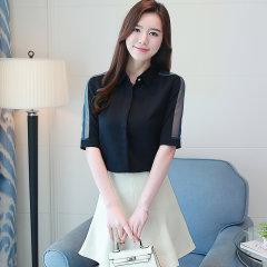 (代发)中袖雪纺职业衬衣修身休闲女上衣HBF2111 黑色:XL 无