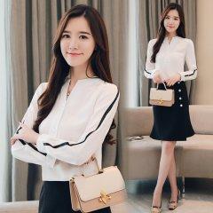 (代发)韩版OL气质显瘦百搭雪纺衬衫长袖HBF2106 S 无